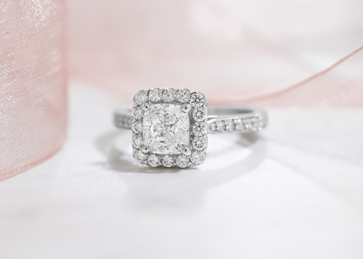 Cushion cut halo diamond engagement ring - Stacy and Adam from The Block
