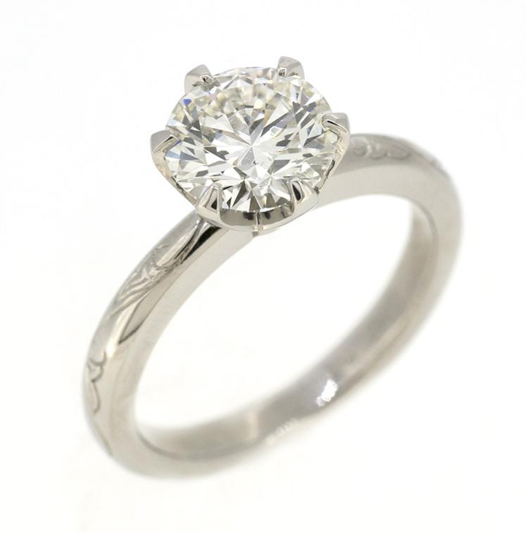 custom designed engagement ring hand engraved family heirloom bracelet detail