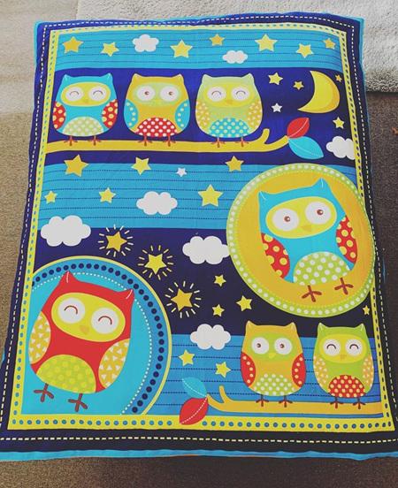 Custom Made Blue Owl Blanket