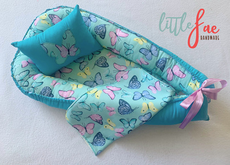 Custom Made Doll Bed Blue Butterfly