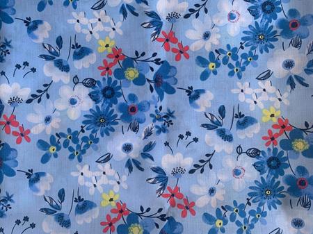 Custom Made Doll Bed Blue Flowers 2