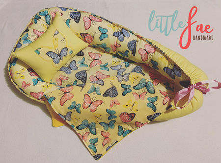 Custom Made Doll Bed Butterfly Yellow