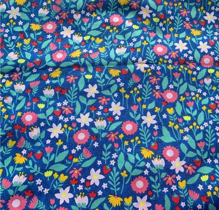 Custom Made Doll Bed Flowers Blue