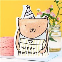 cut out bear present birthday