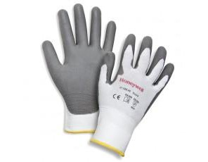 Cut resistant knit gloves with polyurethane coated palm