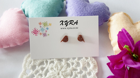 Cute  Bird Stud Earrings - Available in Copper and Blue Colour