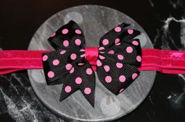 Cute Black & Hot Pink  Spotted Baby/Preschooler Hairband