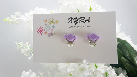 Cute Candy Clip-on Earrings - available in pink and purple