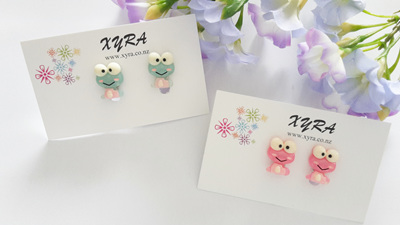 Cute Frog Clip-on Earrings (avail in pink or light green)