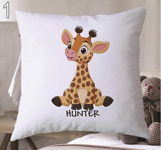 cute giraffe personalised cushion