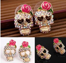 Cute Pink Rose Skull Rhinestone Earrings