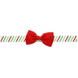 Cute Red Bow Green Striped Headband