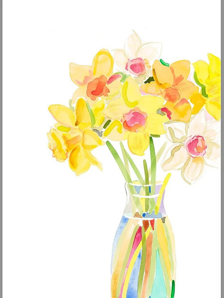 Daffs in a Milk Bottle by Libby Chambers