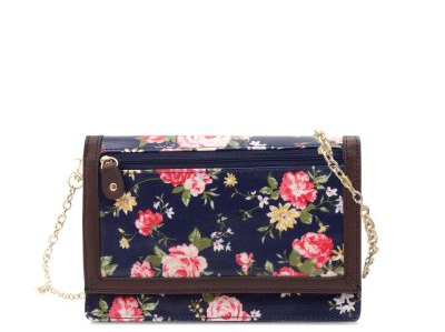 Daisy Collection 2-Fold Wallet/Shoulder Bag Navy Rose