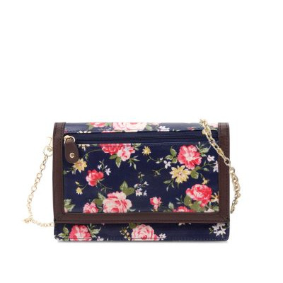 Daisy Collection 2-Fold Wallet/Shoulder Bag Navy Rose
