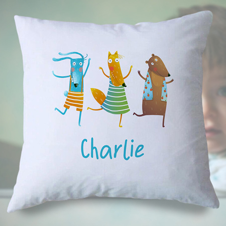 Dancing Animals Personalised Cushion Cover