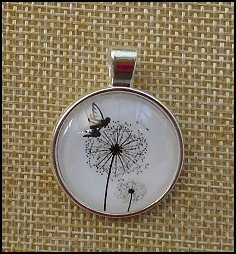 Dandelion Glass Dome Key Ring