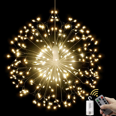 Dandelion Starburst Battery Operated Lights Silver Wire 198 LEDs with Remote Control - Warm White