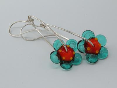 Dangle flower earrings - Orange/Teal