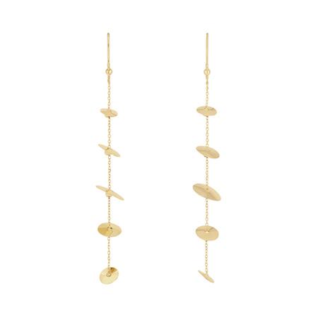 Dangling Discs Hook Gold Earrings