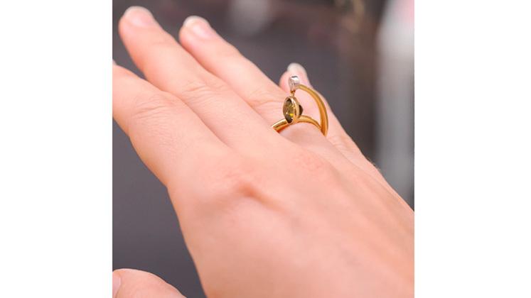 Dangling Green sapphire and diamond ring, designer fine jewellery wellington nz