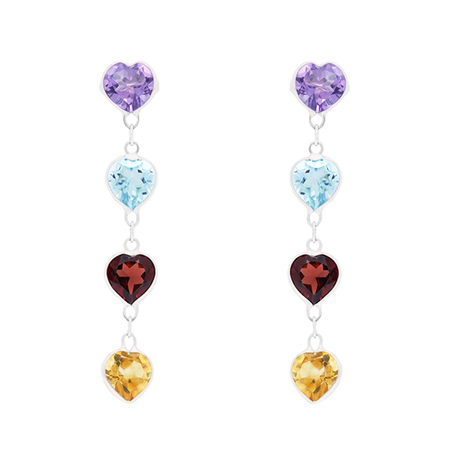 Dangling Hearts Coloured Gemstone Earrings