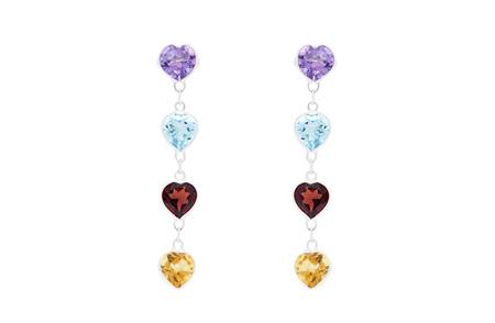 Dangling Hearts Coloured Gemstone Earrings