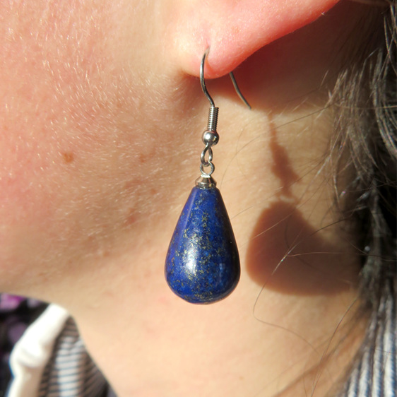 Dappled blue Lapis Lazuli precious stone earrings