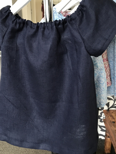 Dark Navy Linen and cotton top