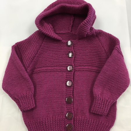 Dark Pink Pure Wool Hooded Jacket - 1-2 Years