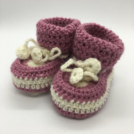 Dark Pink & White Crochet Baby Booties with Sheepskin Sole