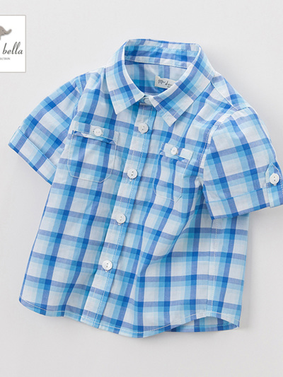 Dave and Bella summer blue check shirt