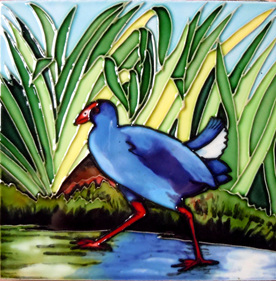 Dawn Barry painted the classic painting of a Pukeko in flax reeds.