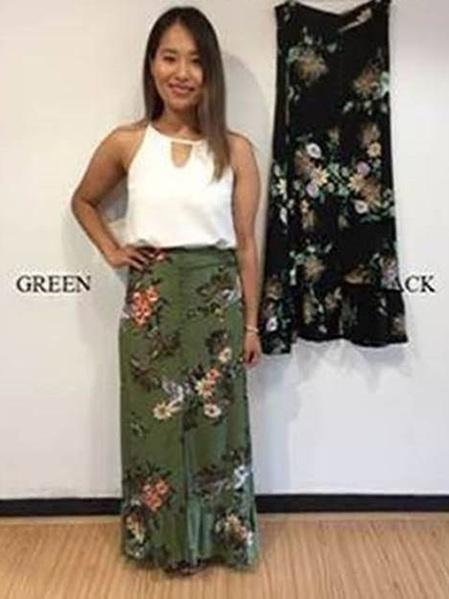Dawn Maxi Skirt - Green
