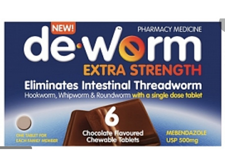 DE-WORM 500mg Chocolate Chewable Tablets 6