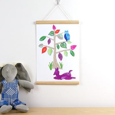 Dear Deer tree hanging canvas print