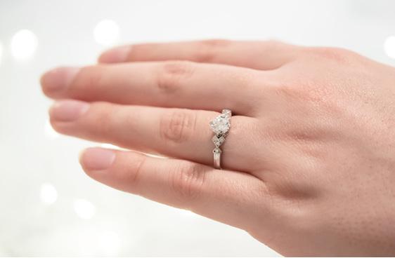 Deco Shoulder Brilliant Diamond Engagement Ring