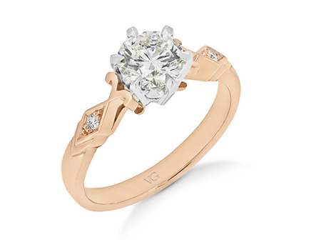 Deco Shoulder Diamond Solitaire Ring