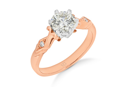 Deco Shoulder Diamond Solitaire Ring