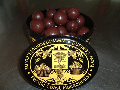 Decorated tin of chocolate nuts