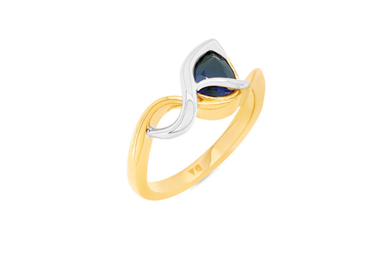 Deep Blue Pear Shape Sapphire Yellow and White Gold Dress Ring