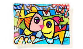 Deeply in Love - Glass Plate - Romero Britto