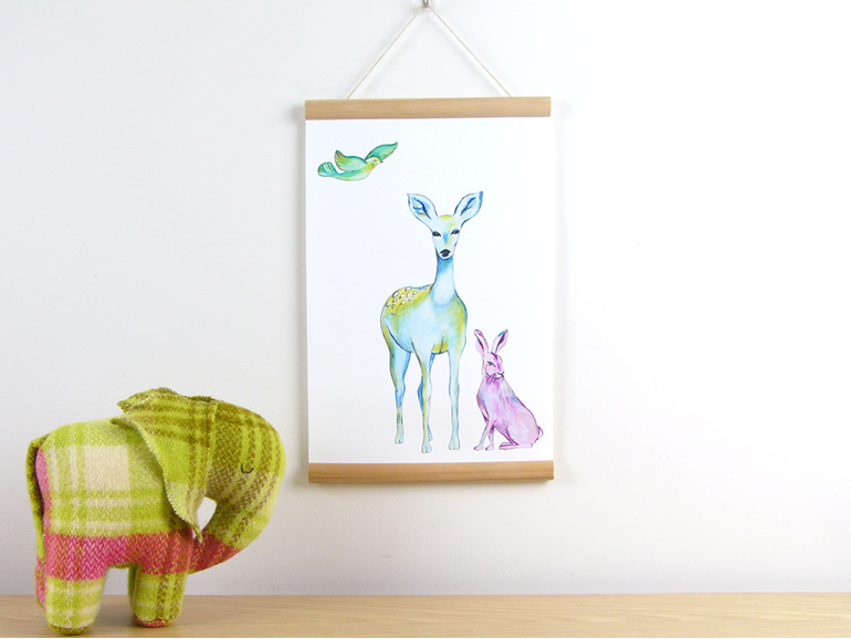 Deer hare and bird canvas print