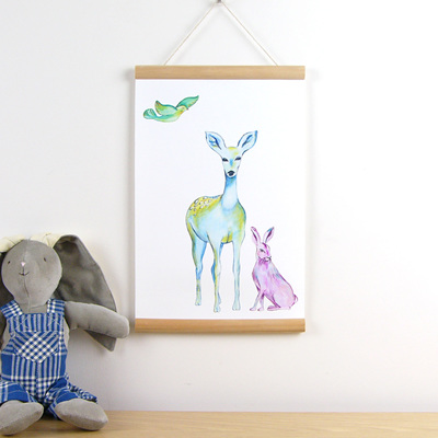 Deer hare and bird hanging canvas print