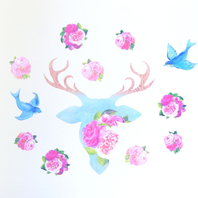 Deer Rose wall decal