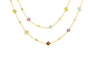 Delicate Coloured Stone Long Necklace