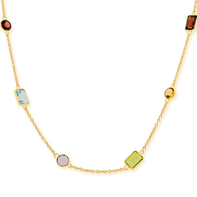 Delicate Coloured Stone Necklace