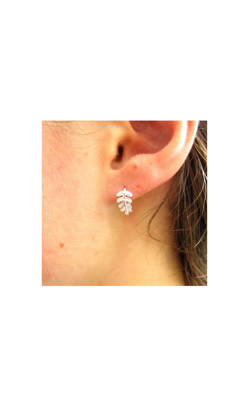 Delicate curled sterling silver fern earrings.
