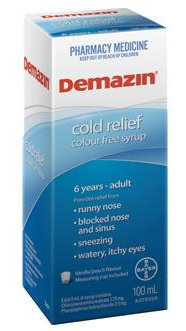 Demazin Cold Relief Cough Syrup Colour Free 200ML