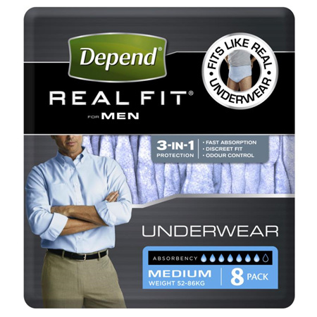 DEPEND REALFIT UNDERWEAR MEN MED 8